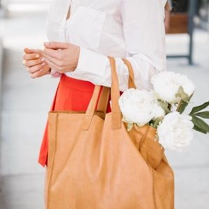 Cognac colored leather tote